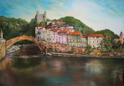 Jean Painting Originals - Dolceacqua italy by Jean Walker