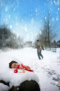 Foot Prints Posters - Doll Abandoned In Snow Poster by Christopher Elwell and Amanda Haselock