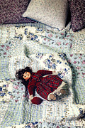 Cushions Prints - Doll On Bed Print by Joana Kruse