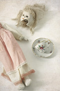 Tea Cup Framed Prints - Doll With Tea Cup Framed Print by Joana Kruse