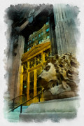Pittsburgh Digital Art Framed Prints - Dollar Bank Lion Pittsburgh Framed Print by Amy Cicconi