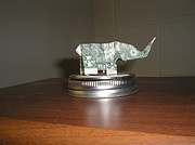 Paper Folding Art - Dollar Bill Origami Elephant by Valerie Bruno