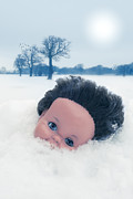 Dolls Posters - Dolls Head In Snow Poster by Christopher Elwell and Amanda Haselock