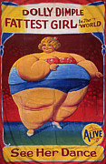 And Posters Prints - Dolly Dimple 1900s Freaks Show Dieting Print by The Advertising Archives