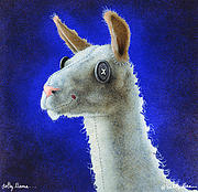 Llamas Prints - Dolly llama... Print by Will Bullas