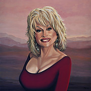 Tennessee Painting Metal Prints - Dolly Parton 2 Metal Print by Paul  Meijering
