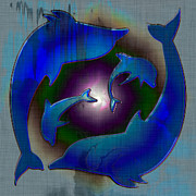 Dolphins Digital Art Metal Prints - Dolphin Dance Metal Print by David G Paul