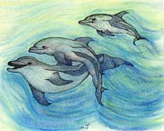 Ink Drawing Painting Framed Prints - Dolphin Family Trio Underwater Art Cathy Peek Framed Print by Cathy Peek