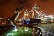 City Photography Digital Art - Dolphin Fountain Tower Bridge London by Donald Davis