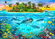 Fish Digital Art Prints - Dolphin Paradise Island Print by Jan Patrik Krasny