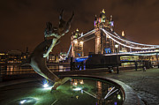 Night Scene Prints - Dolphin Statue Tower Bridge Print by Donald Davis