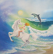 Dancing Girl Paintings - Dolphin Wave by Beverly Martin