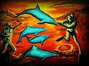 Dolphin Digital Art Framed Prints - Dolphins and Divers Fantasy Art Framed Print by John Malone