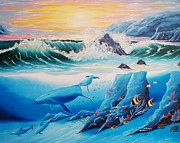 Randall Painting Originals - Dolphins and Whales by Randall Brewer
