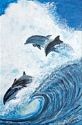 Marcia Prints - Dolphins at Play by Marcia Lillanthal Print by Sheldon Kralstein