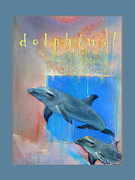 Kids Prints Pastels Framed Prints - Dolphins Framed Print by Brooks Garten Hauschild