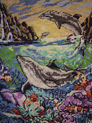Featured Tapestries - Textiles Originals - Dolphins Game by Eugen Mihalascu
