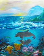 Ocean Scenes Mixed Media Prints - Dolphins in the Ocean Print by Annette Forlenza-Ryan