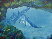 Randall Painting Originals - Dolphins Looking In by Randall Brewer