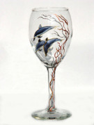 Painted Wine Glass Glass Art - Dolphins by Pauline Ross
