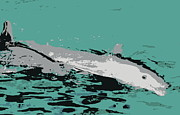 Silk Screen Print Prints - Dolphins print Print by Laurie Pike