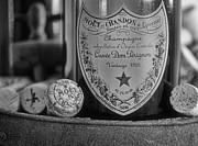 Cork Framed Prints - Dom Perignon in black and white Framed Print by Paul Ward