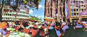 Cologne Prints - Dome Cafe in Cologne Print by Yury Malkov