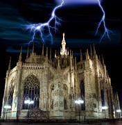 Old Milano Photos - Dome of Milan under Storm by Nicolae Feraru