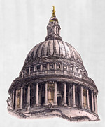 Wren Drawings - Dome of Saint Pauls Cathedral London by Gerald Blaikie