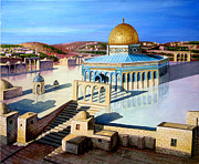 Jerusalem Painting Metal Prints - Dome of the rock-JERUSALEM Metal Print by Amani Al Hajeri