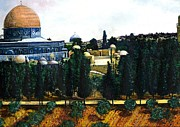 Jerusalem Painting Metal Prints - Dome of the Rock Jerusalem Metal Print by Gaye Elise Beda