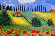 Tuscan Hills Framed Prints - Domenica Framed Print by Seonaid  Ross
