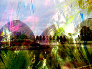 Domes Prints - Domes and Abstract Paint Print by Anita Burgermeister