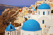 Caldera Framed Prints - Domes of Santorini Framed Print by Brian Jannsen