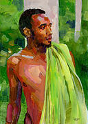 Black Painting Posters - Dominican Boy with Towel Poster by Douglas Simonson