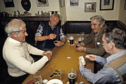 Archetypal Framed Prints - Domino game in an english pub in 1989 Framed Print by David Davies