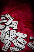 Red Fabric Art - Dominoes by Christopher Elwell and Amanda Haselock