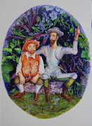 Don Quijote Paintings - Don Quijote shows Sancho a new paradise by Estela Robles