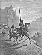 Miguel Drawing Drawings - Don Quixote and Sancho Panza Illustration by Gustave Dore