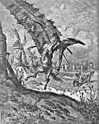 Miguel Drawing Drawings - Don Quixote Attacks the Windmill Engraving by Gustave Dore