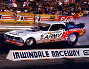 Howard Koby Posters - Don The Snake Prudhomme Irwindale Raceway 1970s Poster by Howard Koby