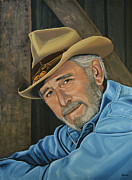 Single Painting Framed Prints - Don Williams Framed Print by Paul  Meijering