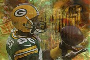 Nfl Digital Art Metal Prints - Donald Driver Green Bay Packers Metal Print by Jack Zulli