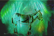 Donkey Digital Art Metal Prints - Donkey Metal Print by EricaMaxine  Price