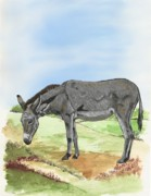 Animal Mixed Media Metal Prints - Donkey Metal Print by Karen Sheltrown