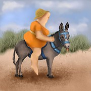 Woman Prints Art - Donkey Ride by Marlene Watson
