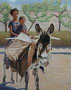 Donkey Pastels Framed Prints - Donkey Riding Framed Print by Marion Derrett