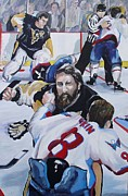 Ice Hockey Paintings - Donnybrook by Philip Kram