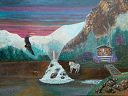 Wolves Painting Prints - Dons Hideout Print by Patricia Swink