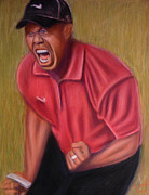Golf Pastels Posters - Dont Call it a Comeback feat Tiger Woods Poster by D Rogale